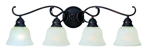 Maxim 85810ICOI Linda EE 4-Light Bath Vanity, Oil Rubbed Bronze Finish, Ice Glass, GU24 Fluorescent Bulb, 60W Max, Wet Safety Rating, Standard Dimmable, Glass Shade Material, 1150 Rated Lumens