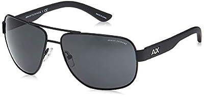 Armani Exchange Men's Metal Man Sunglass 0AX2012S Aviator Sunglasses, Satin black/black, 62 mm