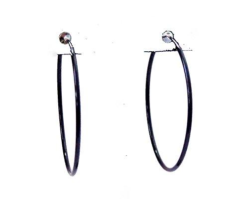 Clip-on Earrings Black Hoop Earrings Simple Thin 2.25 inch Hoop