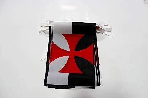 AZ FLAG Guirnalda 6 Metros 20 Banderas de los TEMPLARIOS BAUSSANT 21x15cm - Bandera Orden del Temple 15 x 21 cm - BANDERINES: Amazon.es: Jardín