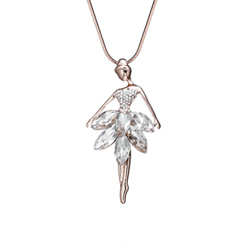 Ballet Girl Crystal Long Chain Sweater Necklace Women Fashion Jewelry Gift