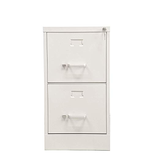 File Cabinet Vertical Metal 2 Drawer with Lock Letter-Size 26.5 Deep(Putty)