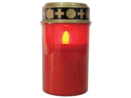 Kerze Grabkerze Grablicht Ewiges Licht Elektro LED flackerndem Kerzenschein, rot