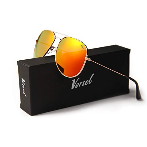 1236b354cb Versol Aviator Sunglasses for Men Women Polarized Metal Frame and UV 400  Protection 60mm - Premium Classic Style (Orange Mirror Lens + Gold)