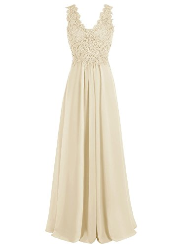 Ausschnitt Lange Festkleider Chiffon Champagner Brautjungfernkleider Mit Beyonddress Damen Abendkleider Applikation V qPtFawEU