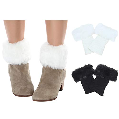 - 2 Pairs FAYBOX Women Winter Faux Fur Boot Cuff Knitting Leg Warmers Short
