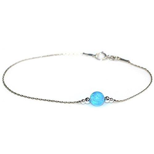 Silver Dainty 6mm Blue Opal Bead Bracelet / Drop Bracelet, Opal Bracelet, Opal Dot Bracelet