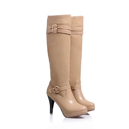 KingRover Womens Ladies Stretch Wide Calf Buckle Platform Leather Riding Knee Boots Size 1-10