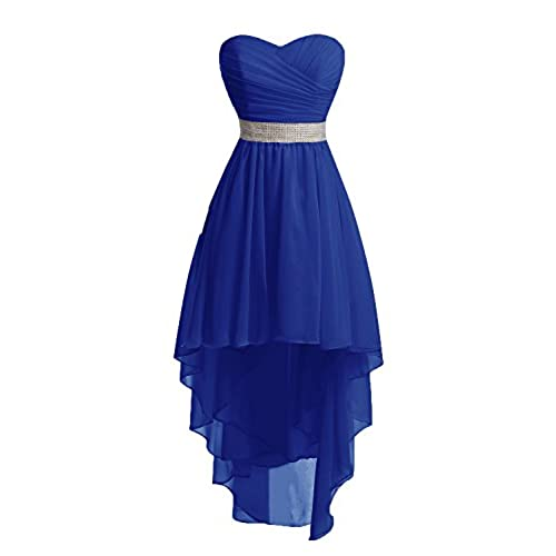 Chengzhong Sun Women High Low Lace Up Prom Party Homecoming Dresses (12, Royal Blue)