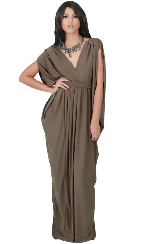 Koh Koh Women's Diamond Weave Elegant Long V-Neck Evening Cocktail Kaftan Gown Maxi Dress - XX-Large - Latte