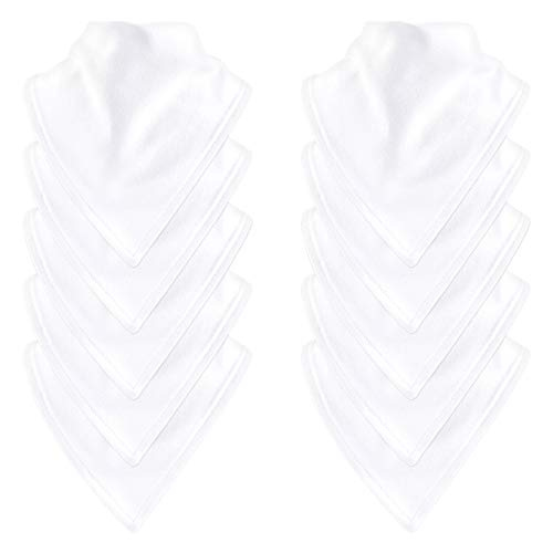 - Luvable Friends Baby Basic Cotton Bandana Bib Set, White 10Pk, One Size