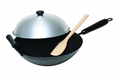 Asian Origins 4-Piece Nonstick Carbon-Steel Wok Set