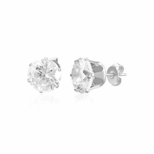 Boucles d'oreilles 10mm en acier inoxydable montées de pierres rondes en zircon cubique