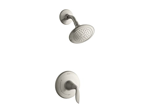 (KOHLER TS5320-4-BN Refinia(R) Rite-Temp(R) shower valve trim with lever handle and 2.5 gpm showerhead, Vibrant Brushed Nickel)