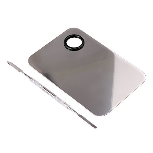 (Goege Pro Stainless Steel Cosmetic Makeup Palette Spatula Tool (L5.9W3.9 inch) )