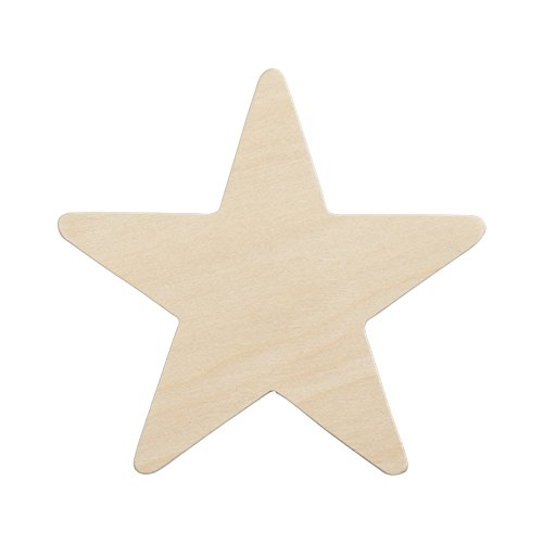 4 Wooden Star, Natural Unfinished Wooden Star Cutout Shape (4 Inch) - Bag of 25