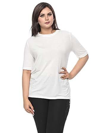 G.ya White Jersey Round Neck T-Shirt For Women