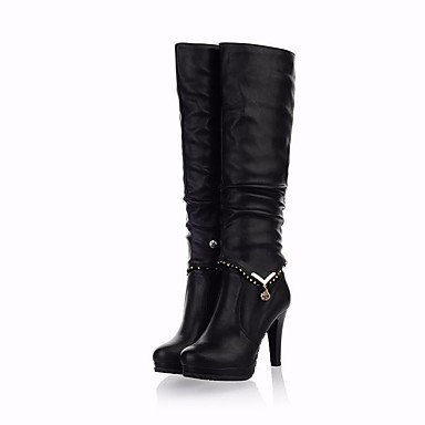 pwne Botas De Mujeres Pu Confort Casual De Resorte Plano Negro Marrón US4-4.5 / EU34 / UK2-2.5 / CN33