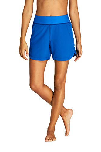 """Lands' End Women's 5"""" Quick Dry Elastic Waist Board Shorts Swim Cover-up Shorts with Panty"""