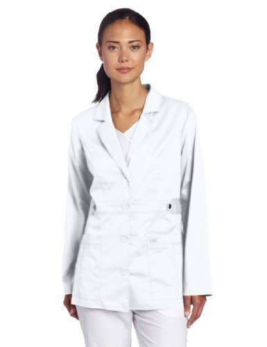 Dickies Women's Gen Flex Junior Fit Contrast Stitch Lab Coat, White, X-Large
