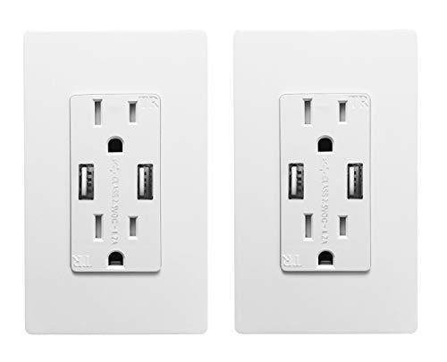 Outlet with USB High Speed Charger 4.2A Charging Capability,Duplex Receptacle 15 Amp, Tamper Resistant Wall socket USB Outlet,Child Proof Safety,Screwless Wall Plate,White (2 Pack)