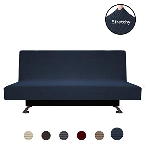 PureFit Stretch Futon Sofa Slipcover - Spandex Jacquard Anti-Slip Soft Couch Sofa Cover Without Armrest,Washable Furniture Protector with Elastic Bottom for Kids (Futon, Navy)