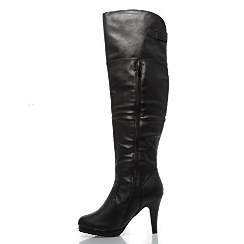 V-Luxury Womens 33-PAGE5 Closed Toe Over The Knee High Heel Boot Shoes, Black PU Leather, 8 B (M) US