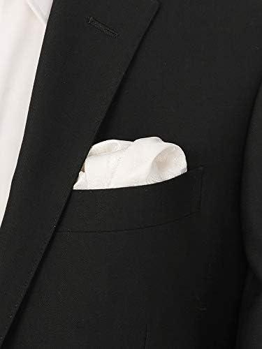 (ザ・スーツカンパニー) ジャカード織り シルクポケットチーフ シルバー×オフホワイト