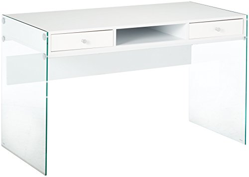 Coaster Home Furnishings  Modern Contemporary Two Drawer Writing Office Desk with Storage Cubby Compartment and Tempered Glass Panels - Glossy White (Table Glass Drawers With)