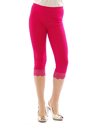 Capri 3/4 Leggings Spitze Baumwolle Damen PINK Größe XXXL