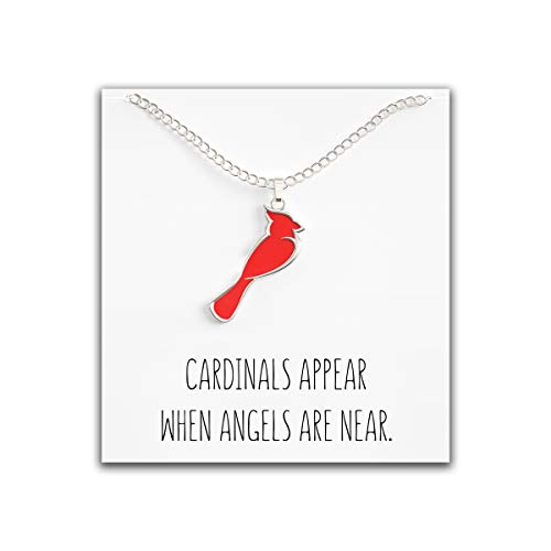 (Happy Kisses Cardinal Necklace for Women - Cute Red & Silver Charm - Cardinals Appear When Angels are Near Message Card )