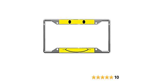 SMILEY FACE YELLOW Metal License Plate Frame Tag Holder Four Holes