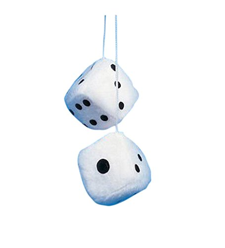 White Fuzzy Car Dice - Good Luck Charm Fuzzy Dice In White For Car (Dice Costumes)