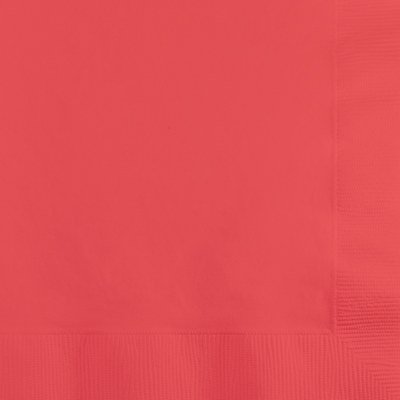 Club Pack of 600 Solid Coral Pink 2-Ply Disposable Paper Party Luncheon Napkins 6.5