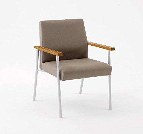 Lesro Mystic Guest Chair 400 lb. Capacity with Medium Oak Wood Armrests, Black Frame, Core Macro Fabric (Arm Lesro Oak Chairs)