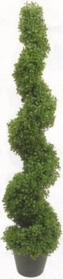 One 5 foot 3 inch Artificial Boxwood Spiral Topiary Tree Potted Indoor or -