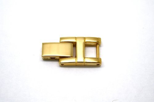 GOLD STAINLESS STEEL FOLD OVER CLASP WOMENS WATCH BRACELET EXTENDER - Gold Fold Over Clasp