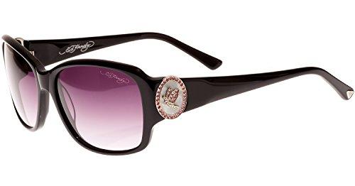 Ed Hardy Soaring Butterflies Sunglasses Black Grey Gradient 56 16 (Ed Hardy Black Sunglasses)