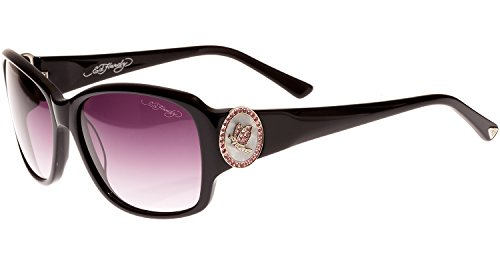 Ed Hardy Soaring Butterflies Sunglasses Black Grey Gradient 56 16 130
