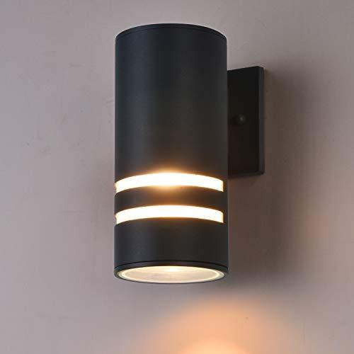 Outdoor Wall Light Fixture, Gray Aluminum Up/Down Wall Sconce, Waterproof Cylinder Porch Light Wall Lamp for Garden & Patio [ETL - Aluminum Fixture