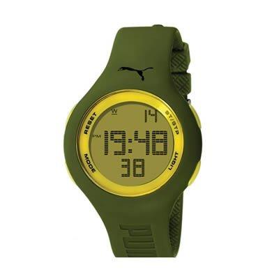 Puma Loop Green Yellow - Reloj digital de mujer de cuarzo con correa de plástico verde (cronómetro) - sumergible a 30 metros: Amazon.es: Relojes
