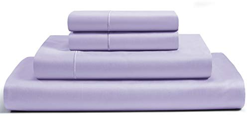 CHATEAU HOME COLLECTION Luxury 800-Thread-Count 100% Egyptian Cotton Bed Sheets, 4 Pc Queen - Pale Lavender Sheet Set, Single Ply Long-Staple Yarns, Sateen Weave, Fits Mattress Upto 18'' Deep Pocket
