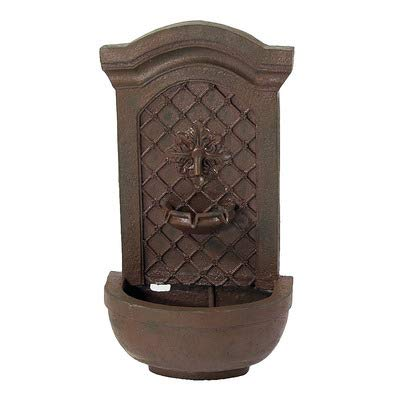 (Sunnydaze Rosette Solar Wall Fountain, Weathered Iron, Solar on Demand Feature)