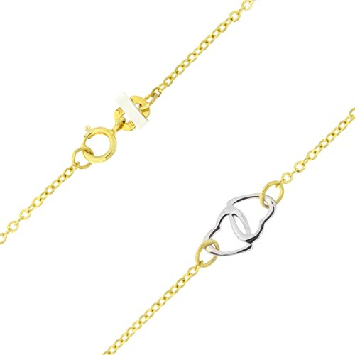 14k Yellow and White Gold Two-Tone Interlocking Hearts Adjustable Anklet - 9'' - 10'' by Beauniq