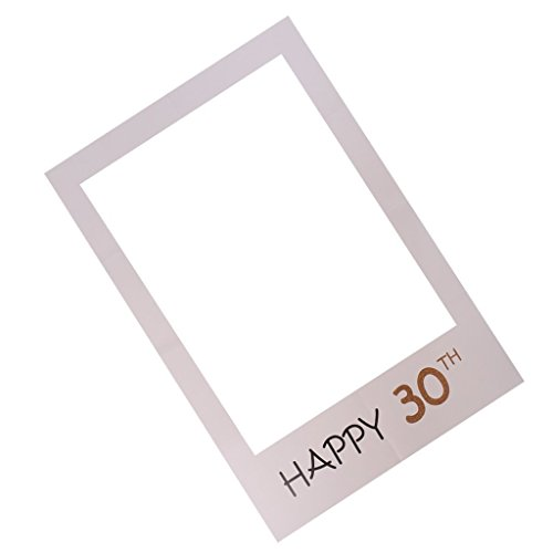 OULII Happy 30th DIY Paper Picture Frame Cutouts Photo Booth Props for Birthday - Booth Paper