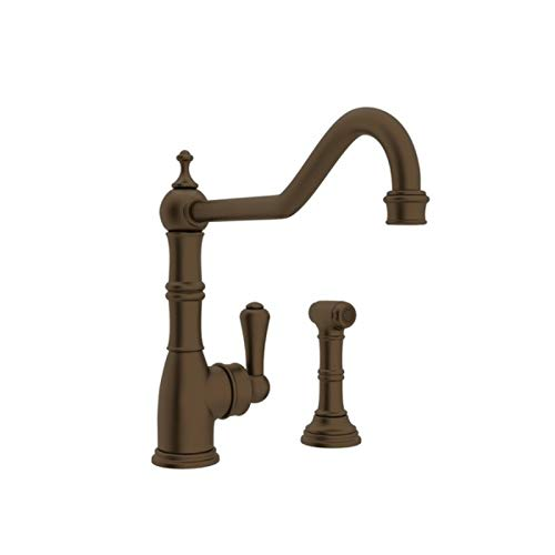 (Rohl U.4747EB-2 Perrin and Rowe Single Hole Single Lever Aquitaine Kitchen Faucet with Sidespray Rinse in English Bronze)