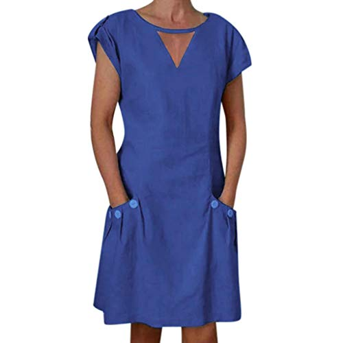 〓LYN Star〓 Women's Dresses-Summer Short Sleeve V Neck Button Down Swing Midi Dress T Shirt Midi Skater Dress with Pockets Navy