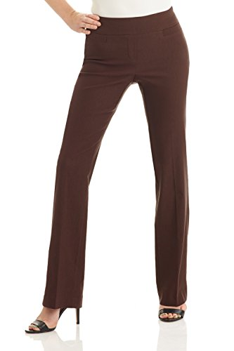 Rekucci Women's Ease in to Comfort Boot Cut Pant (16,Brown)