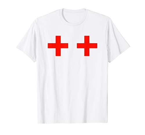 Nurse Red Cross Boobs T-Shirt Costume Uniform Doctor ()