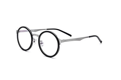 HEPIDEM Acetate Men Round Myopia Optical Glasses Frame Eyewear Eyeglasses 8007 (Black - Glasses Myopia Online Buy